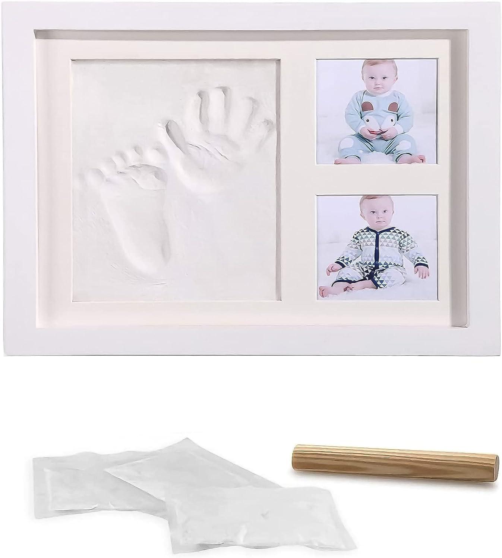 LAZY SPORTS Marco de huellas Kit de Marco de madera Para Manos y Huellas de bebé para niños y niñas. No se agrieta al secar. (Blanco-Arcilla)