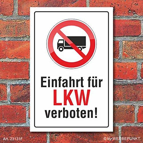 Schild Einfahrt für LKW verboten, 3 mm Alu-Verbund 450 x 300 mm
