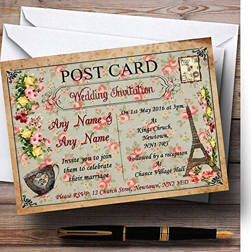 10 x Uitnodigingen Vintage Parijs Shabby Chic Ansichtkaart Bloemen Gepersonaliseerde Bruiloft Nodigt elke Wording