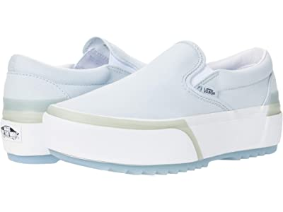 Vans Classic Slip-On Stacked ((Pastel) Ballad Blue/True White) Athletic Shoes