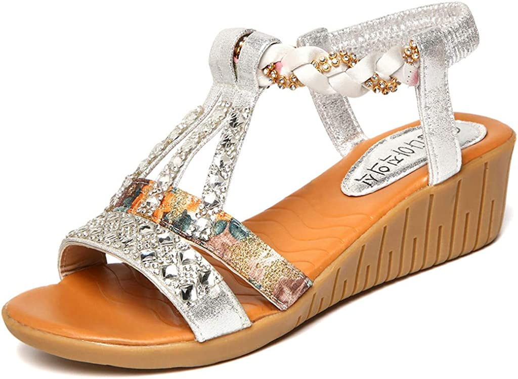 IZHH Sandals Women Spring Summer Crystal Bling Wedges Single Shoes String Bead Roma Low Wedge Flatform Diamante t-bar Slingback Party Club Office Sandals Silver