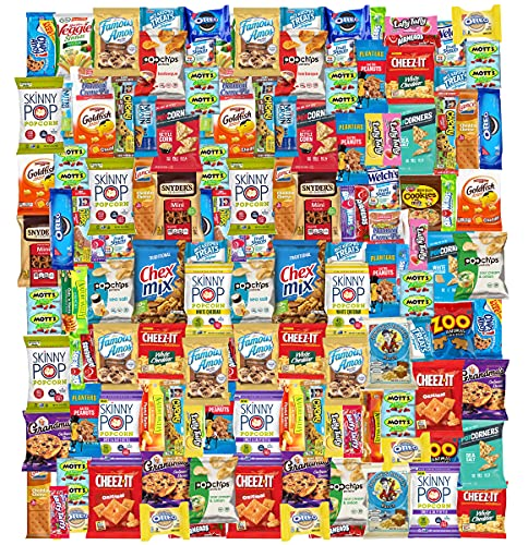 Care Package (150) Variety Snacks Gift Box Bulk Snacks - College Students, Military, Work or Home - Over 9 Pounds of Snacks! Snack Box Fathers gift basket gifts for men