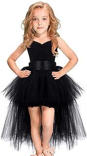 女の子のパーティードレス ハロウィンのクリスマスのパフォーマンスショーキャットウォークガールのレースパフプリンセスサスペンダードレス フォーマルなパーティーの誕生日の卒業プロムのダンスのボールのドレスドレス (色 : ブラック, サイズ : 3-4T)