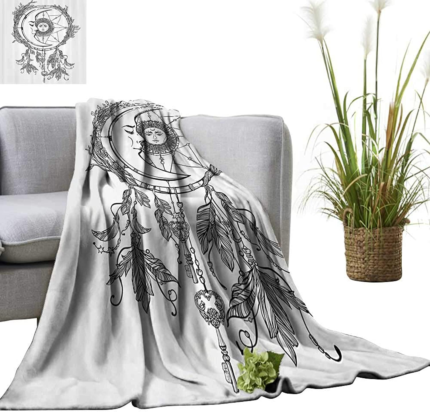 YOYI Super Soft Blanket mTribal Dreamcatcher Feathers with Sun and Mo Inside Cosmos Artsy Bedsure Flannel 60 x70