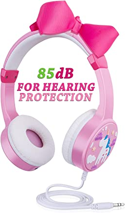 Kids Wired Headphones, 85dB Volume Limited Over Ear Children Headphones with Sharport Hearing Protection Cartoon Fashion Style Gifts for 2~10 Year Old Girl Cellphone Kindle Tablet (Pink)