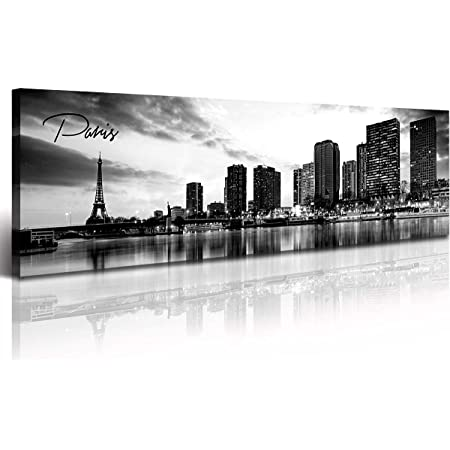 Djsylife Paris Eiffel Tower Skyline Wall Art Black And White Modern City Night View Panoramic Cityscape Picture Paintings Canvas Prints Office Room Home Decoration Artwork Framed 13 8 X47 3 Posters Prints