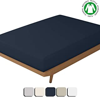 BIOWEAVES 100% Organic Cotton 1 Fitted Sheet Only, 300 Thread Count Soft Sateen Weave GOTS Certified with deep Pockets (Full, Navy Blue)