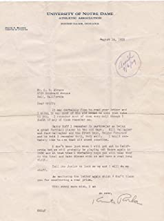 Knute Rockne Notre Dame Signed Letter 8/14/1929 PSA Auto 9 LOA AH41177