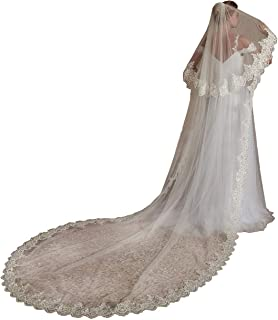 Women's Long 2 Tier Lace Wedding Bridal Veil With Metal Comb L70 - coolthings.us