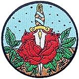 Toppa ricamata da applicare con ferro da stiro o cucitura, tema: Rosa con pugnale