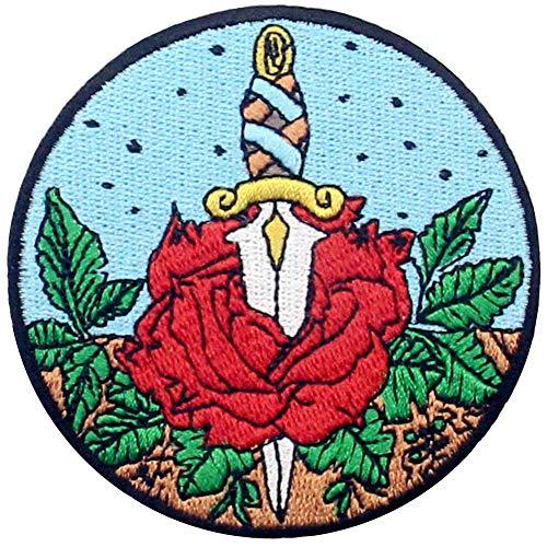 Parche termoadhesivo para la ropa, diseño de Rosa y daga