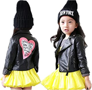 LJYH Girls Leather Motorcycle Jacket Children's PU Love Coat