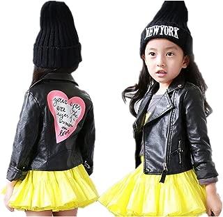 Girls Leather Motorcycle Jacket Children's PU Love Coat