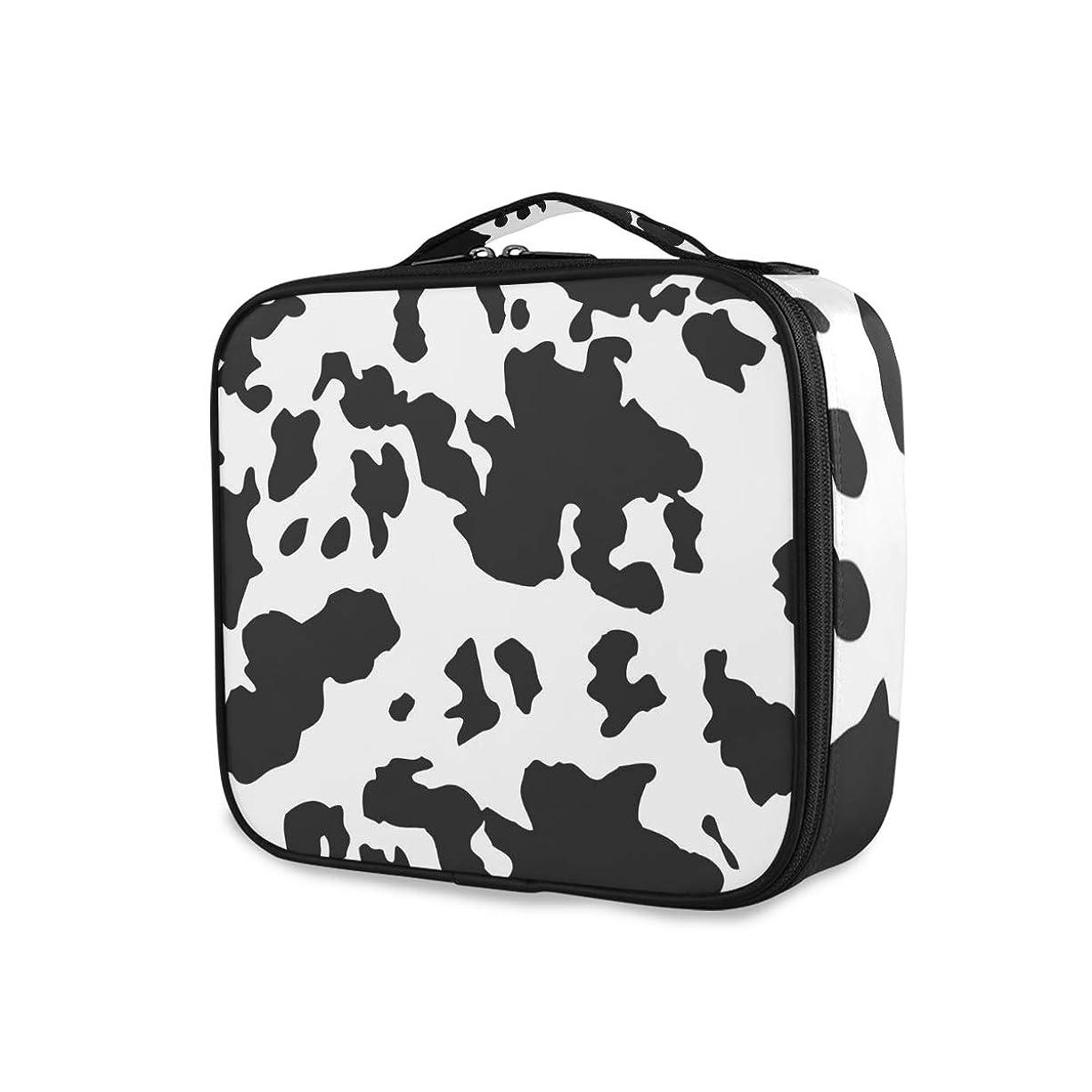 便宜グレートバリアリーフ哲学的(VAWA) メイクボックス 大容量 プロ用 かわいい 牛柄 アニマル柄 黒白 化粧箱 機能的 コスメ収納 ブラシバッグ 調整可能 旅行出張用