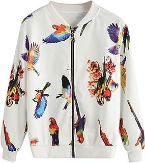 Mhomzawa ボンバージャケット 飛んでいる鳥 イレギュラー プリント 長袖 スタントカラー ショートコート 春 秋物 リクルート エレガント スポーツ アウトドア レディース 新着ファッション