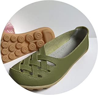 New Women's Casual Shoes Genuine Leather Woman Loafers Slip On Female Flats Ladies Driving Shoes