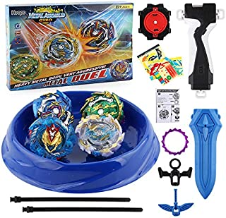 HVOPS Bey Battle Evolution Starter Battling Top Fusion Metal Master Rapidity Fight with Two 4D Launcher Grip Set(4 in 1)