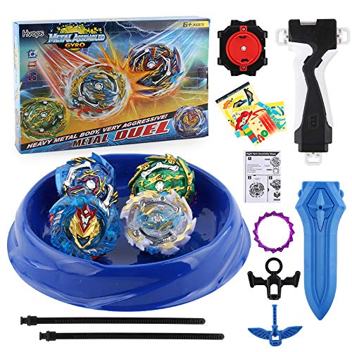 Bey Burst Starter 4 in 1 Battling Top Fusion Metal Master Rapidity Fight with 4D Launcher Grip Set