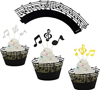 LQQDD (Set of 60) Music Notes Cupcake Topper Music Notes Cupcake Wrappers Lace Muffin Case Cupcake Paper Liner,Music Notes...