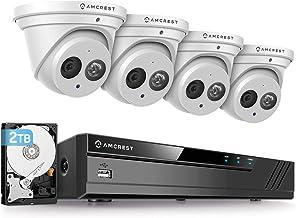 Amcrest 4K Security Camera System w/ 4K 8CH PoE NVR, (4) x 4K (8-Megapixel) IP67 Weatherproof Metal Turret Dome POE IP Cam...