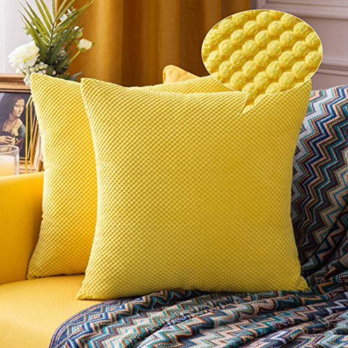 MIULEE Corduroy Cushion Cover Fabric Granule Throw Pillow Case Square Solid Home for Sofa Chair Couch Bedroom Decorative Pillowcases 22x22 inch 55x55cm 2 Pieces Yellow