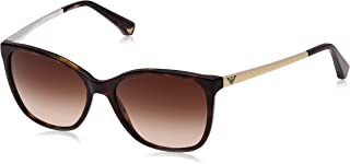 Women's EA4025 Cat Eye Acetate Sunglasses, Dark Havana/Brown Gradient, 55 mm