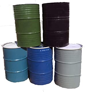 One 55 Gallon Used/Reconditioned Steel Trash Barrel | Burn Drum | Utility Storage | Refuse Composting Barrel | Random Color
