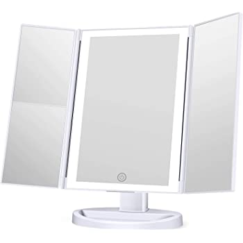 Makeup Mirror with Lights, 3 Color Lighting Vanity Mirror with 72LEDs, 1x 2X 3X Magnification, Touch Control, Portable Cosmetic Lighted Makeup Mirror
