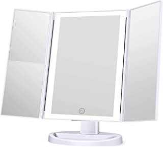 KOOLORBS New Version Makeup Mirror with lights, 3 Color Lighting Vanity Mirror, 1x 2x 3x Magnification, Touch Screen Switch,180 Degree RotationRotation, Dual Power Supply, Portable Trifold Mirror
