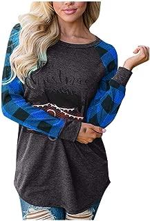 👏 Happylove 👏 Women Merry Christmas Plaid Tee Raglan Top Casual Long Sleeve T-Shirt