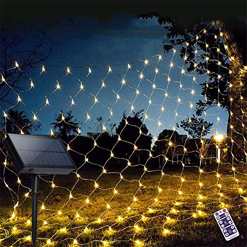 200LED Solar Fence String Lights, 8 Modes Solar Powered , Waterproof Star Twinkle Lights for Outdoor, Gardens, Lawn Patio, Landscape, Xmas, Holiday(Net Lights (Warm-White)