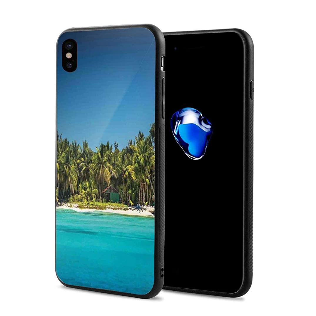 Phone Case Cover for iPhone X XS,Photo of A Tropical Beach with Palm Trees and Sea Ocean Sand Calm Dominican Paradise,Compatible with iPhone X/XS 5.8