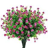 Mocoosy 8 Paquetes Flores Artificiales Plantas de Exterior, Resistente a los Rayos UV Morado Rojo Flores Falsas Realista plástico Flores Artificiales para el hogar jardín Patio Granja Decoraciones