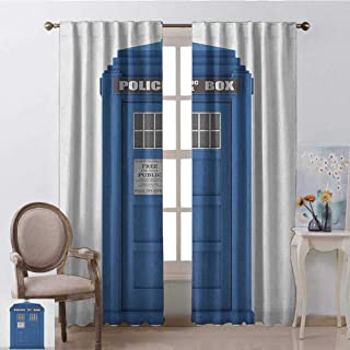 GUUVOR Police 99% Blackout Curtains Doctors Blue House British Landmark Phone Box Police Call Image Employment Theme for Bedroom Kindergarten Living Room W52 x L108 Inch Blue and White
