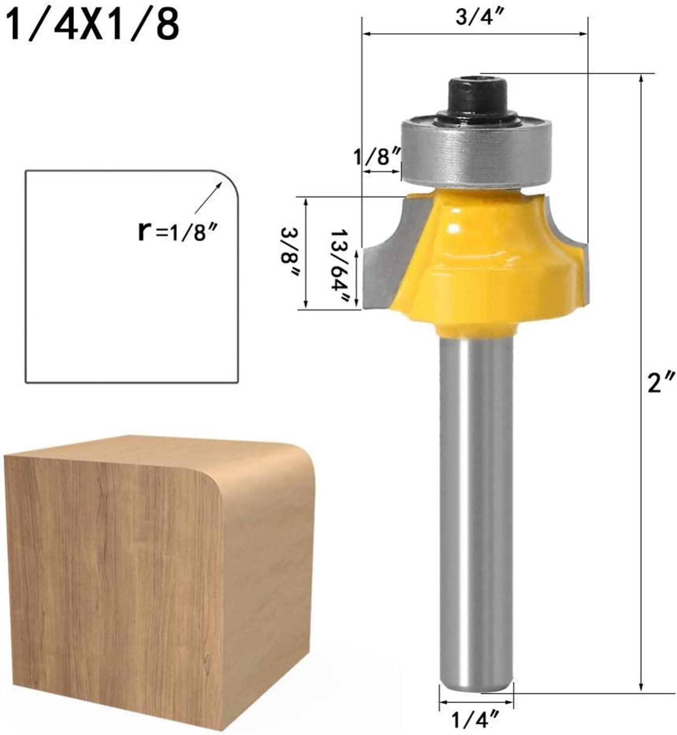 Use Safety Reliable Cutting Edge Length : 6.35XR6.35 1pc Zkenyao-Router Bit 1//4 Shank Round Over Router Bit with Bearing for Woodworking Tool Tungsten Carbide Milling Cutter