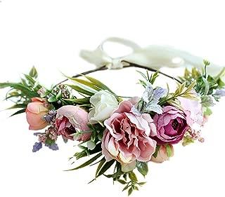 Tutuziyyy Flower Headband Handmade Adjustable Wreath Halo Crown Floral Wedding Garland Headband For Beach Party Festival
