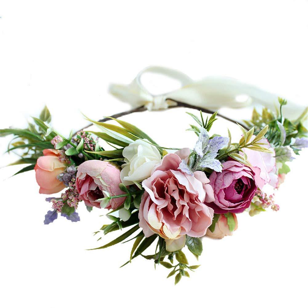 Gumolutin Women Long Beach Mall Flower Headband Adjustable Handmade Under blast sales Wreath Crown