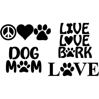 Dog Mom Black Love with a Paw Paw Heartbeat Paw Prints Paw Decals: Dog Paws