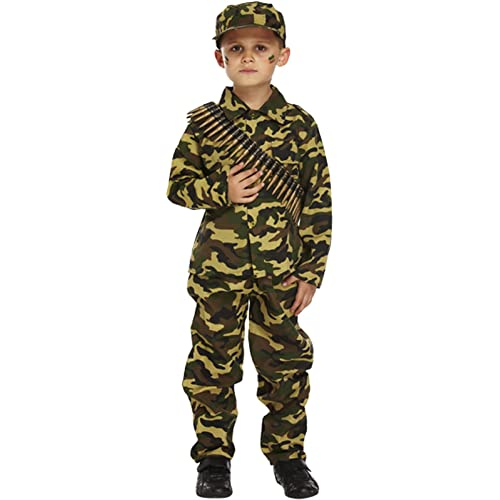 High Quality Boys Camouflage WW1 WW2 Army Soldier Boy Military Armed Forces Book Day  Fancy Dress Costume Outfit