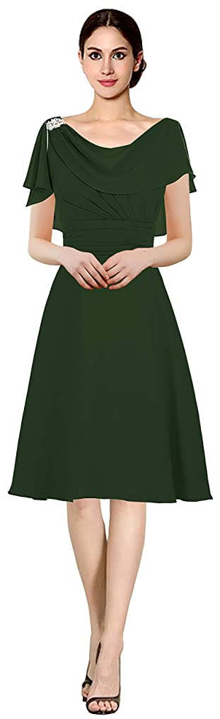 Judy Ellen Women Bat Sleeves Short Bridesmaid Dress Party Gown J086LF
