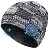 Bluetooth Beanie Gifts for Men Bluetooth Hat, Christmas Stocking Stuffers Wireless Earphone Beanie Headphones, with HD Stereo Speakers Built-in Microphone, Electronic Tech Gifts for Women Teens