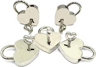 LOUHUA 5 Sets Silver Mini Heart Shaped Padlock Bulk Lock with Key for Jewelry Storage Box Diary Book DIY Craft