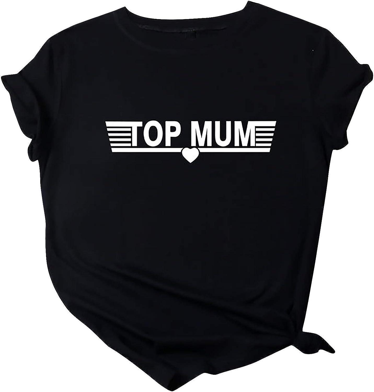 Aukbays Womens Tops Short Sleeve Top Mun Sayings Printing Graphic T-Shirts O Neck Tees Blouses Shirts