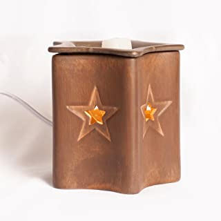 25w Bulb Wax Warmer Rustic Star - ScentSationals Wax Cube Warmer Air Freshener - Full Size Electric Candle Warmer 25W 120V. Western Style Home Decor, With warm glowing light for the perfect candle replacement and lasting replaceable scent.