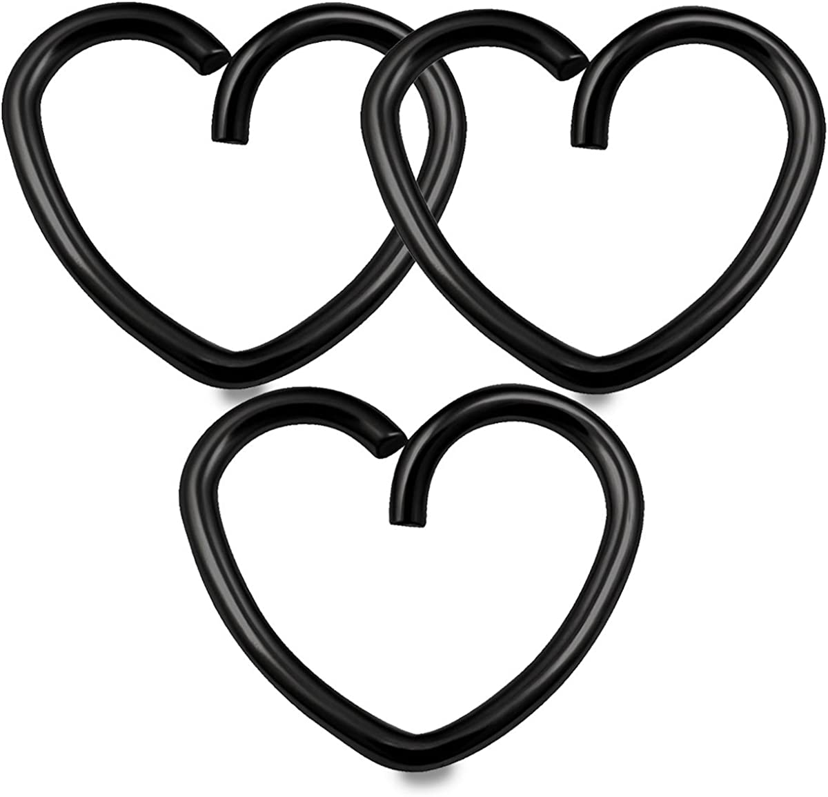 bodyjewellery 3pcs 18g 3/8 Heart Hoop Earring Cartilage Daith Rook Tragus Helix Surgical Steel Anodized Conch Auricle Lobe - Pick Color