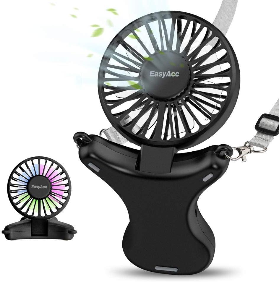 Necklace Fan, EasyAcc Hand Free Fan 3350mAh Rechargeable Battery Fan 3 Speed 3-17 Hours Adjustable 100° Angle Personal Fan Built-in Night Light USB Fan Cooling Fan for Camping Outdoors Travel - Black
