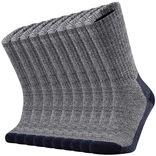 Ortis Cotton Moisture Wicking Work Athletic Cushion Crew Socks for Men 10 Pack(Navy Blue XL)