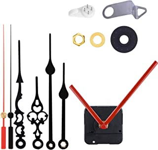 Non-Ticking Hands Quartz DIY Wall Clock Movement Mechanism DIY Repair Parts Replacement with 3 Different Pairs of Hands, 5/16 Inch Maximum Dial Thickness, 45/64 Inch Total Shaft Length (1red 2black)