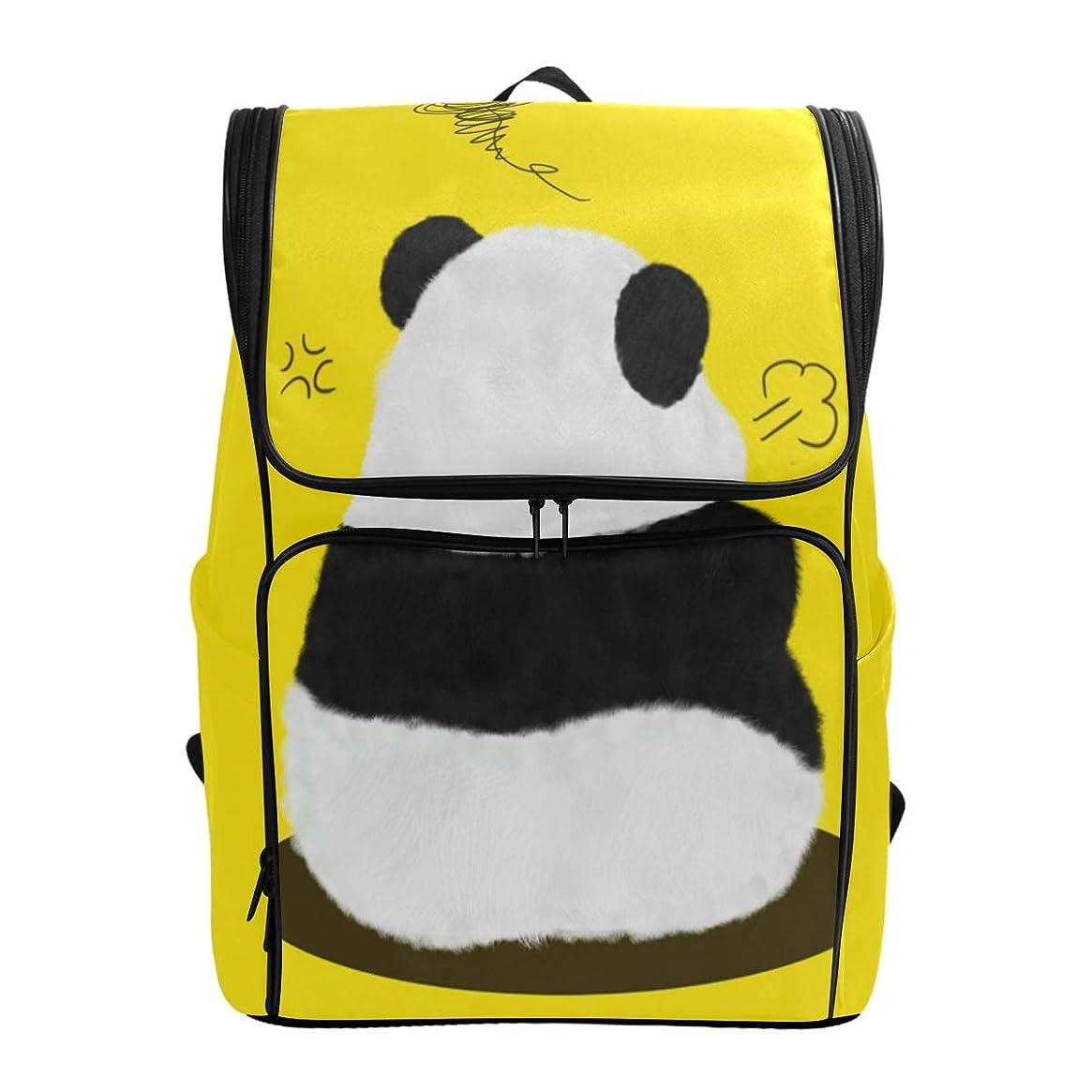 アンカーフォーマル船尾マキク(MAKIKU) リュック 大容量 リュックサック パンダ柄 かわいい イエロー 軽量 メンズ 登山 通学 通勤 旅行 プレゼント対応