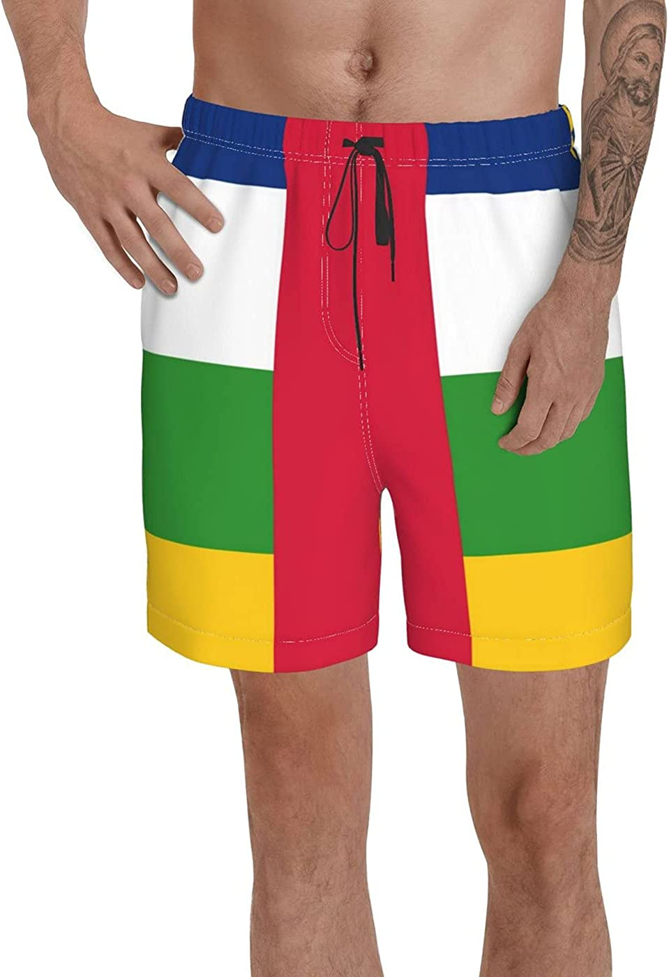 Count Central African Republic Flag Men's 3D Printed Funny Summer Quick Dry Swim Short Board Shorts with